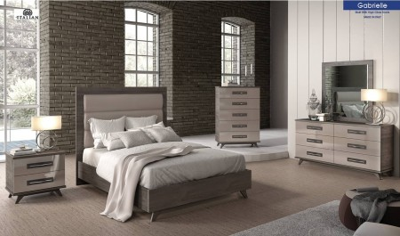Gabrielle Italian Bedroom Set in Two Tone Finish