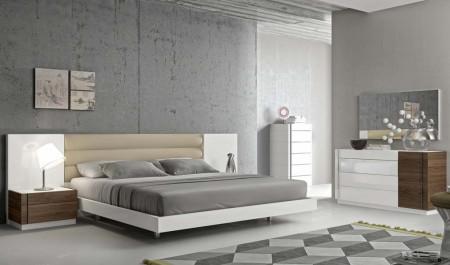 Lisbon Modern Bedroom Set in Walnut and White