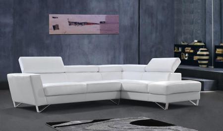 Divani Casa Waltz Sectional Sofa in White Leather
