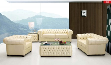 258 Living Room Set Chesterfield Full Ivory Leather