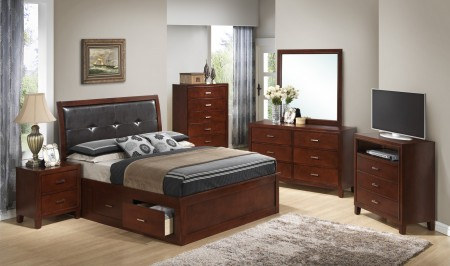 Storage Bed Solid Wood Cherry Bedroom Set G1200B