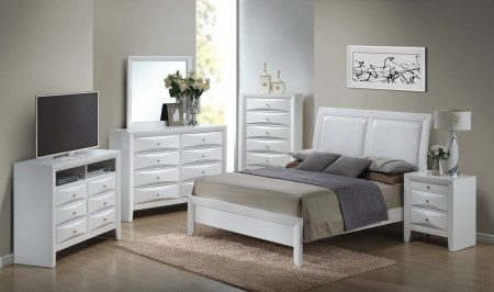Leather Headboard White Finish Bedroom Set G1570A