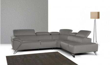Nicoletti Tesla Sectional Sofa in Grey Italian Leather