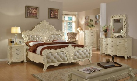 Meridian Novara Bedroom Set in Pearl White Finish