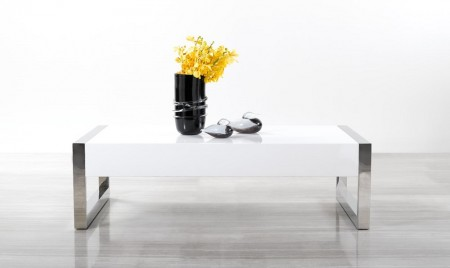 115A Contemporary White Coffee Table with Chrome Legs