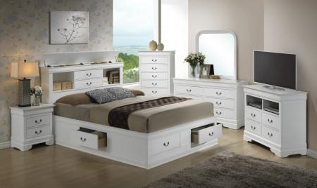 Bookcase Storage Bed White Finish Bedroom Set G3190B