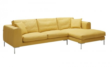 Soleil Sectional Sofa in Yellow Italian Leather