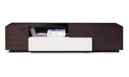 TV015 Long Modern TV Stand in Brown Oak Finish