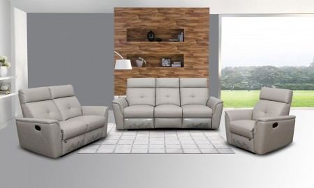 8501 Grey Leather Reclining Living Room Set