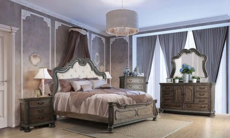 Ariadne Traditional Bedroom Set in Rustic Natural Tone Beige