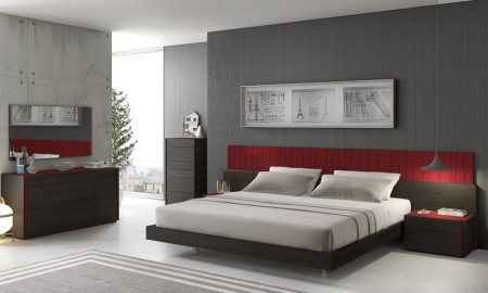 Lagos Bedroom Set in Brown and Red Finish Wood