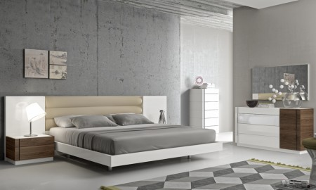 Lisbon Bedroom Set in White Lacquer and Walnut Finish