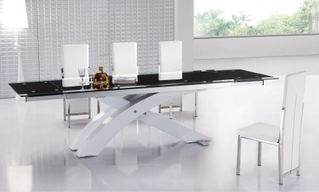 Contemporary White Base Black Glass Top Dining Room Set 8420-8273