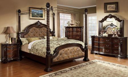 Monte Vista II Canopy Bedroom Set in Cherry and Brown