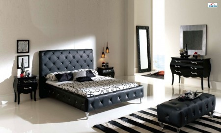 Nelly Modern Bedroom Set in Black Finish by Dupen