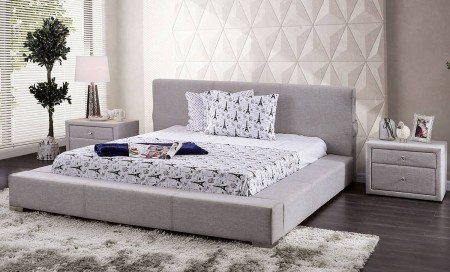 Canaves Modern Platform Bed in Light Gray Fabric