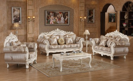 Antique White Wood Trim Fabric Living Room Set 691