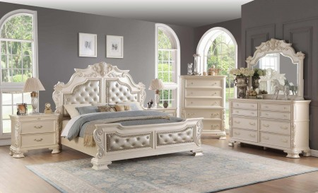 Cosmos Furniture Victoria Bedroom Set in Antique White