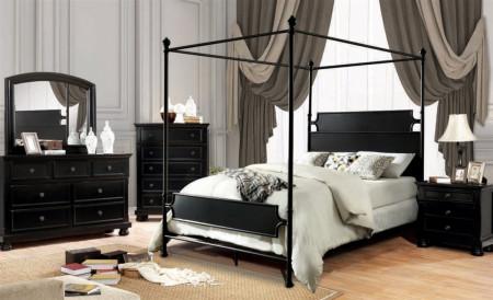 Beatrix Canopy Bedroom Set in Black