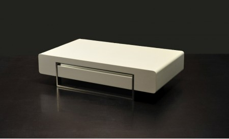 902A Modern White Wood Coffee Table with Drawer