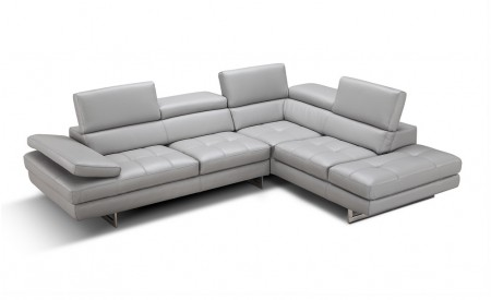 A761 Contemporary Sectional Sofa in Light Grey Leather