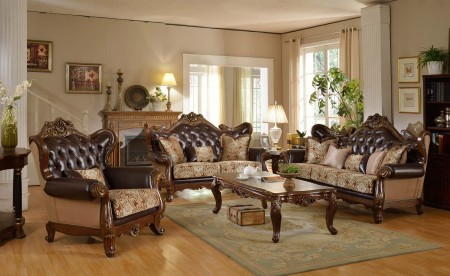 601 Traditional Living Room Set in Brown Leather and Fabric