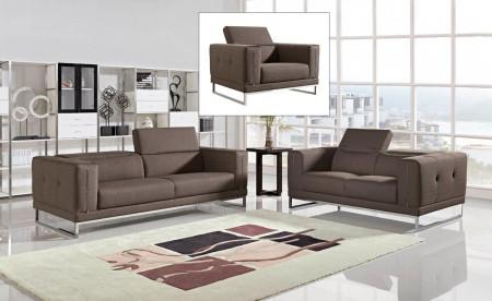 Divani Casa Halite Sofa Set in Modern Brown Fabric