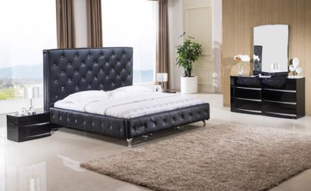 Rome Black Bedroom Set with Upholstered Black Bed