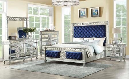 Varian Bedroom Set in Blue Velvet