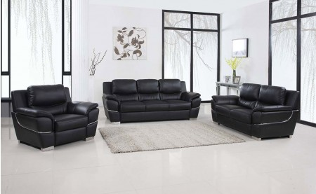 4572 Modern Living Room Set in Black Leather by United