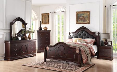 B518 Cappuccino Bedroom Set Leather Headboard