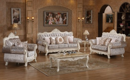 Glossy Ivory Wood Trim Fabric Living Room Set 638