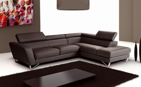 Delancey Sparta Sectional Sofa in Brown Italian Leather