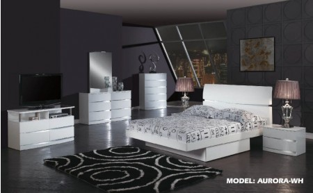 Aurora Modern Bedroom Set in White Lacquer Finish