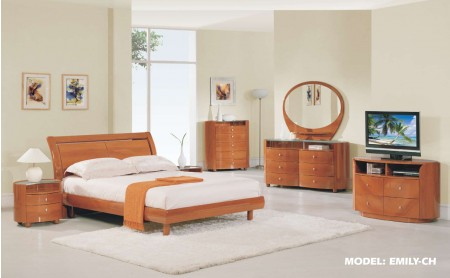 Emily Bedroom Set in Cherry Finish by Global Furniture
