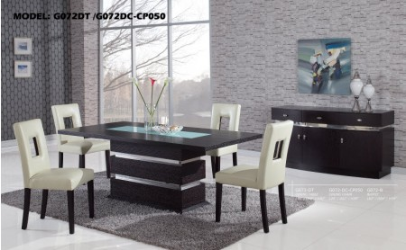 G72DT Modern Wood 5 Piece Dining Set with Brown or White Chairs