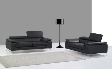A973 Modern Living Room Set in Black Italian Leather