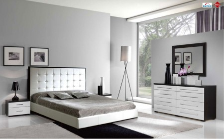 Penelope Luxury Bedroom Set in White and Brown Finish