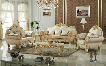 Lacatta Finish Fabric Classic Living Room Set 657