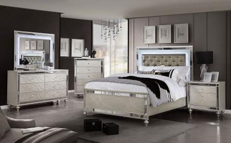 Claudette Bedroom Set in Silver Rose
