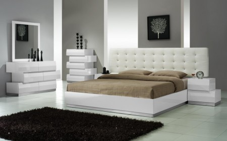 Milan Zig Zag Bedroom Set in White Lacquer Finish