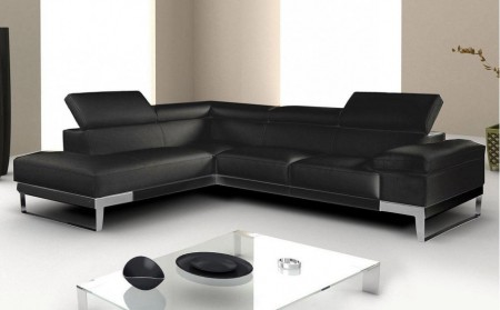 Domus Sectional Sofa in Black Italian Leather by Nicoletti