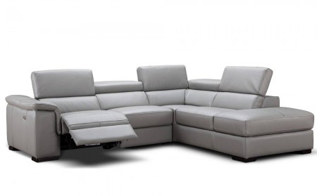 Perla Modern Reclining Sectional Sofa in Grey Leather