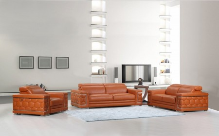 Divanitalia 692 Living Room Set in Orange Leather