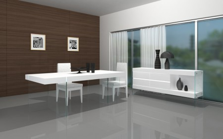 Cloud White Contemporary Wood Top Clear Glass Base Dining Set