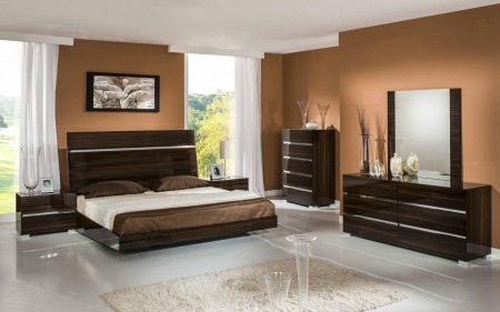 Ebony Lacquer Modrest Excalibur Italian Bedroom Set