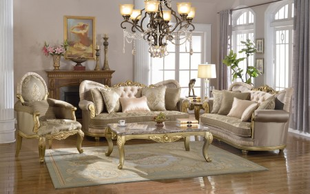 Gold Finish Wood Trim Fabric Living Room Set 658