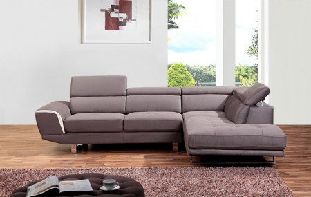 Modern Styled A0890 Brown Fabric Sectional Sofa