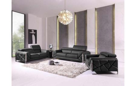 Divanitalia 903 Living Room Set in Black Leather