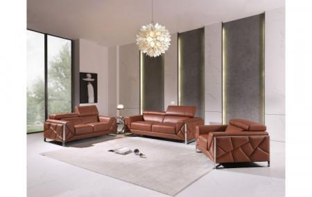 Divanitalia 903 Living Room Set in Camel Leather